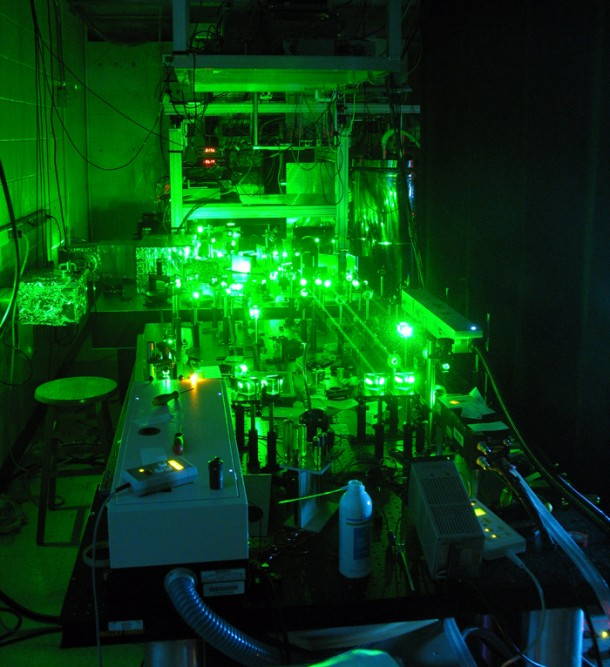A multi-university team used a high-powered laser - based at the University of California, Santa Barbara - to improve an electron paramagnetic resonance (EPR) spectrometer, one of the tools scientists use to study the world at the atomic level. (Photo: UCSB/Susumu Takahashi)