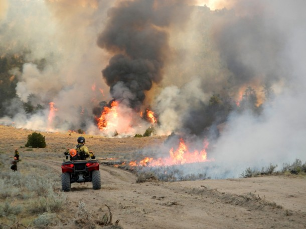 Droughts have taken a toll on many parts of the United States.  As a result, a number of wildfires, mostly in the western U.S. have broken out. According to the NOAA, as of August 8, 2012 wildfires have consumed over 4,088,349 acres of land. Here firefighters continue burnout operations on the Sawmill Canyon Fire in Wyoming. (Photo: U.S. Forest Service)