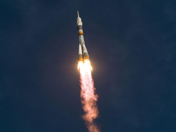 The Soyuz rocket, carrying ISS Expedition 33 crew members, launches to the International Space Station from the Baikonur Cosmodrome in Kazakhstan on Tuesday 10-23-12.  (Photo: NASA/Bill Ingalls)