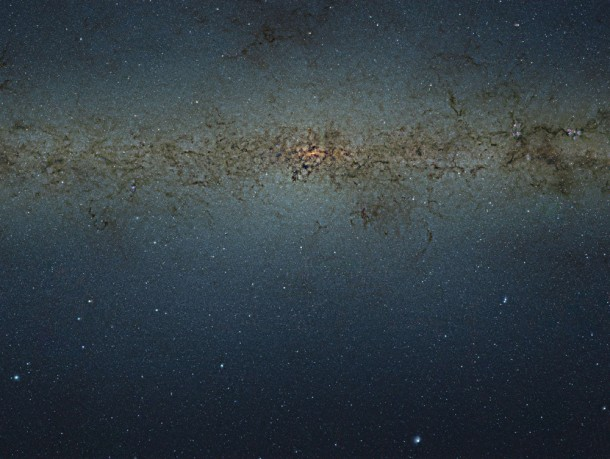 A look at the center of our galaxy – Using a massive nine-gigapixel image from the VISTA infrared survey telescope at ESO's Paranal Observatory in Chile, an international team of astronomers has created a catalog of more than 84 million stars located in the central parts of the Milky Way.  The image is so large that, if printed with the resolution of a typical book, it would be 9 meters long and 7 meters tall.  (Photo: ESO/VVV Consortium/Ignacio Toledo)