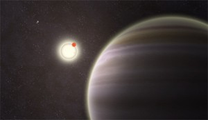 Artist's rendition of newly discovered circumbinary planet PH1 that orbits two suns (upper left) and is some 5,000 light years from Earth. (Image: Haven Giguere/Yale)