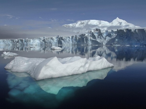 This is a view of Antarctica's Sheldon Glacier with Mount Barre in the background.  The photo was taken by scientists participating in a new NASA/British Antarctica Survey study that is trying to find out why Antarctic sea ice cover has increased under the effects of climate change over the past two decades. (Photo: British Antarctic Survey)