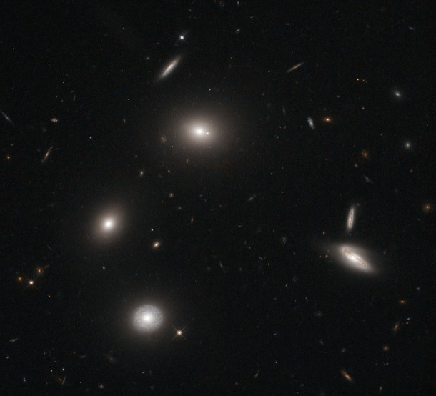 A group of galaxies glow like fireflies on a dark night in this image snapped recently by the Hubble Space Telescope.  (Image: ESA/NASA/Hubble)