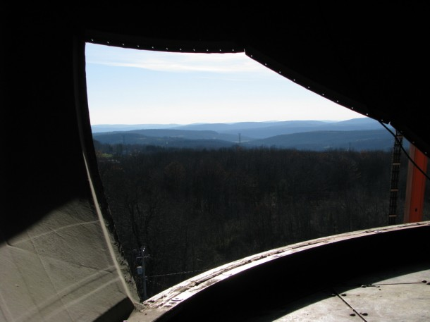 This is a view of the country side in Binghamton, NY as seen from inside a US National Weather Service radar radome (which protects radar components from the elements).  The weather radar was recently taken offline so that repairs could be made.  (Photo: NOAA/NWS)