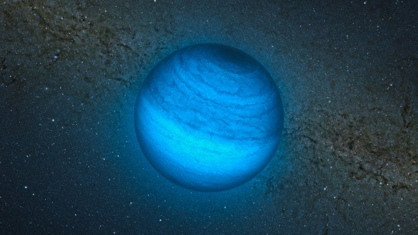 Artist's impression of newly identified free-floating planet labeled CFBDSIR2149 located only about 100 light years from Earth. (Image: ESO/L. Calçada/P. Delorme/Nick Risinger-skysurvey.org/R. Saito/VVV Consortium)