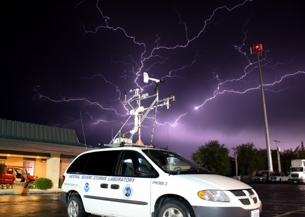 A cluster of lightning over the US National Severe Storms Lab Probe #2 minivan that measures weather statistics as it travels through storms.  (Photo: NOAA)