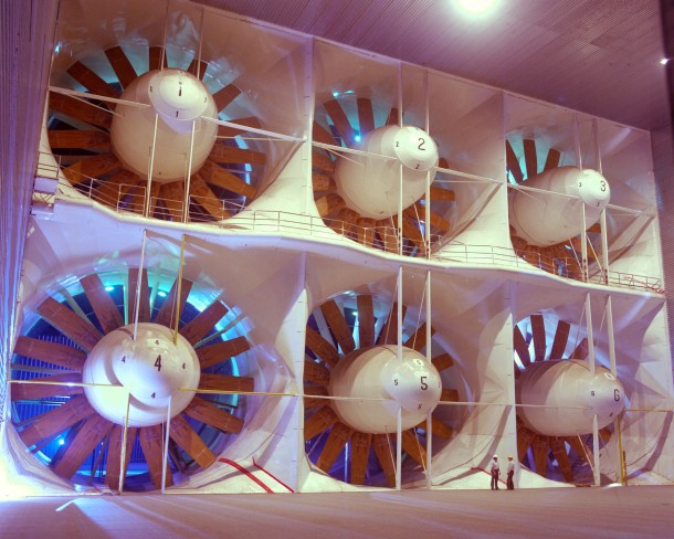 The six huge fans shown here provide the wind for the wind tunnel at NASA's National Full-scale Aerodynamics Complex in California (Photo: NASA Ames/Tom Trower)