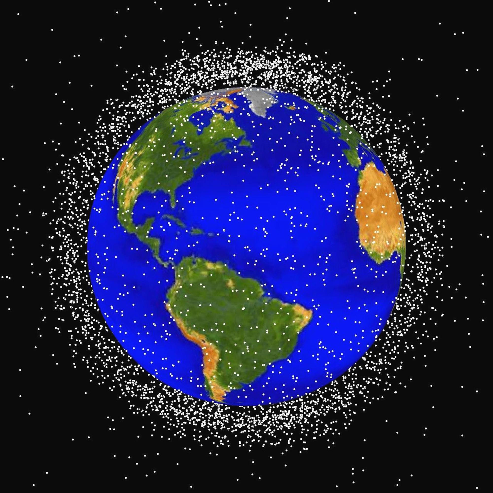 space science junk earth distant computer altitude km generated debis oblique vantage provide point