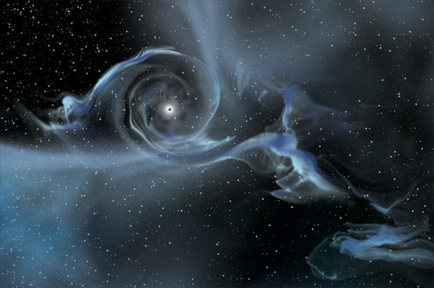An artist's drawing shows a large black hole pulling gas away from a nearby star. (Image: NASA)