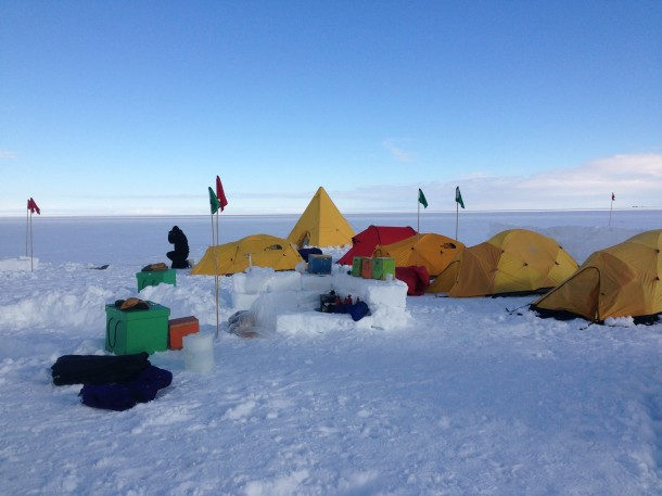 Before workers with NASA's US Antarctic Program are sent out into the field they must first undergo training to help them endure the harsh Antarctic conditions.  Here's a look at their training camp site that was set up on the Ross Ice Shelf ,the largest ice shelf of Antarctica.  (Photo: NASA)