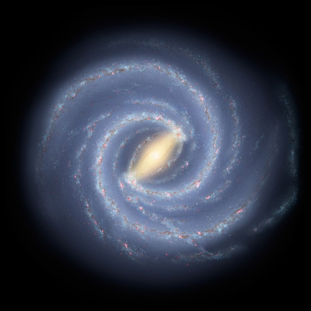 This artist's concept illustrates the new view of the Milky Way.  Scientists have discovered that the Milky Way's elegant spiral structure is dominated by just two arms wrapping off the ends of a central bar of stars. Previously, our galaxy was thought to possess four major arms. (Image: NASA)