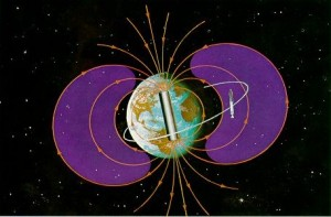 Artist's illustration of the shape and function of the Earth's magnetic field that protects us from harmful cosmic radiation (NASA)