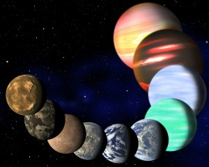 Artist's illustration represents the variety of planets being detected by NASA's Kepler spacecraft. A new analysis has determined the frequencies of planets of all sizes, from Earths up to gas giants. (Image: C. Pulliam & D. Aguilar (CfA))