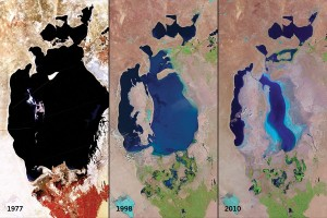 Images from the Landsat satellite series show the Aral Sea in central Asia shrinking significantly from 1977 to 2010 because of water diversion for agricultural use. (Images: USGS EROS Data Center)