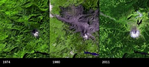 In 1974, Mount St Helens in Washington state was surrounded by forests. An image taken three months after the volcanic eruption on 18 May 1980 reveals the devastation caused by the blast, which directed its energy northwards. By 2011, much of the damaged region had started to regrow. (Images: USGS)