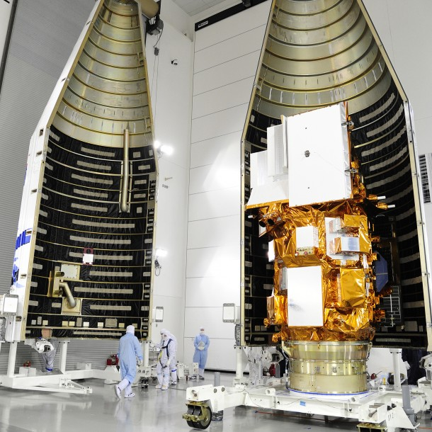 Technicians pack-up and prepare NASA's Landsat Data Continuity Mission (LDCM) satellite for its scheduled launch on Monday, Feb. 11th at 1800 UTC (Photo: NASA)