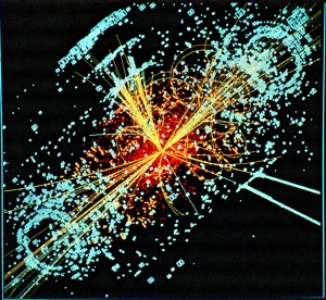 In a simulated data model, a Higgs boson is produced which decays into two jets of hadrons and two electrons. (Photo: CERN)