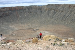 Barringer (or Meteor) Crater, in Arizona, measures 180 meters deep and 1,200 meters wide. Scientists estimate that a small asteroid about 45 meters in diameter, same as the passing 2012 DA14 created the hole some 25,000 years ago. (Photo: Kevin Walsh @ Creative Commons via Flickr)