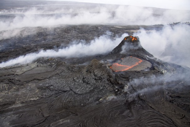 Lava from a tiny lava pond flows on the north side of Hawaii's Kilauea volcano. (Photo: USGS)