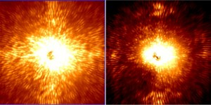 Demonstration of Project 1640's light control system. Left image is star without new system - Right image is star with filtration that allows objects up to 10 million times fainter than the star to be seen (Images: Project 1640)