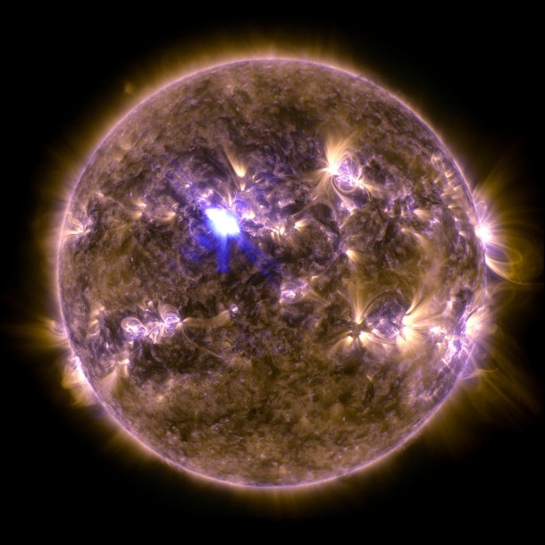 NASA's Solar Dynamics Observatory captured this image of recent M6.5 class flare. This image shows a combination of light in wavelengths of 131 and 171 Angstroms - light wavelength measurement.- (NASA/SDO)