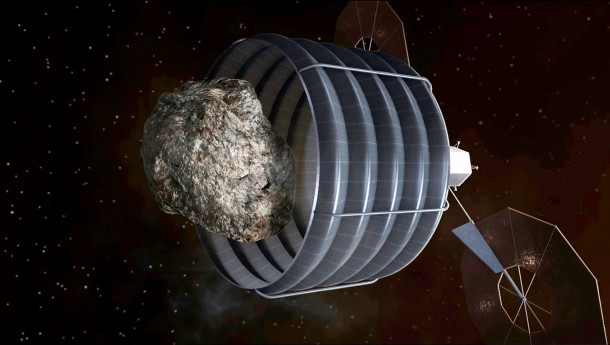 Artist's concept of a solar-electric-powered spacecraft that will be designed to capture a small near-Earth asteroid and relocate it safely close to the Earth-moon system so astronauts can explore it. (NASA)