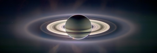 Saturn and its rings in a composite image taken by the wide-angle camera on the Cassini spacecraft over nearly three and by digitally compositing ultraviolet, infrared, and clear-filter images and then adjusting the final image to resemble natural color. (NASA)