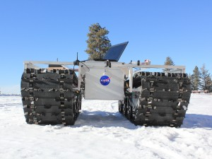 This is a prototype of GROVER, without its solar panels that was tested at an Idaho sky resort in January 2012. The laptop in the picture was only used for testing purposes and is not mounted on the final prototype. (Photo: Gabriel Trisca, Boise State University)