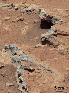 "NASA's Curiosity rover found evidence for an ancient, flowing stream on Mars at a few sites, including the rock outcrop pictured here, which the science team has named ""Hottah"". (NASA/JPL)"