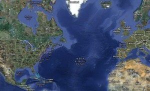 North America and Europe are now separated by the Atlantic Ocean.  Geologists have found clues that may signal the beginning of a cycle where the Atlantic will disappear and the Continents will collide and form a new supercontinent. (Map: Google)