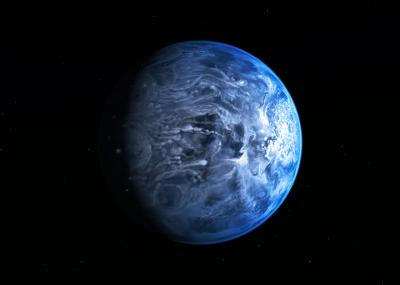 Artist's Impression of the Deep Blue Planet HD 189733b (NASA, ESA, M. Kornmesser)