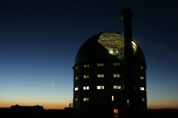 This is the Southern African Large Telescope (SALT) where a team of astrophyscicists led by Dartmouth University recently discovered the extent to which quasars and their black holes can influence their galaxies. The researchers documented the immense power of quasar radiation, reaching out for many thousands of light years to the limits of the quasar's galaxy. The SALT the largest single optical telescope in the southern hemisphere and among the largest in the world.  (Janus Brink, Southern African Large Telescope)
