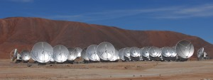 Antennas that make up the ALMA array of radio telescopes located on Chile's Chajnantor Plateau (ALMA (ESO/NAOJ/NRAO), O. Dessibourg)