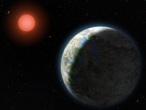 A planet with clouds and surface water orbits a red dwarf star in this artist's conception of the Gliese 581 star system. (Illustration: Lynette Cook)