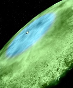 Artist concept of snow line in TW Hydrae showing water covered ice grains colored blue in the inner disk and green colored CO ice covered grains in the outer disk. (Bill Saxton and Alexandra Angelich, NRAO/AUI/NSF)