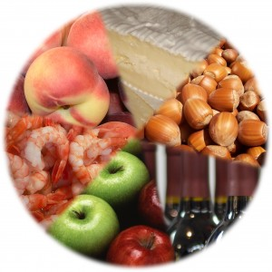 Some food types likely to cause allergic reactions - cheese, nuts, wine, fruit, and shellfish. (David Castor via Wikimedia Commons)