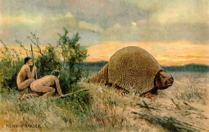 Paleo-Indians (includes Clovis People) are first people to entered and inhabit the Americas shown hunting a glyptodont (armadillo ancestor (Heinrich Harder via Wikimedia Commons)