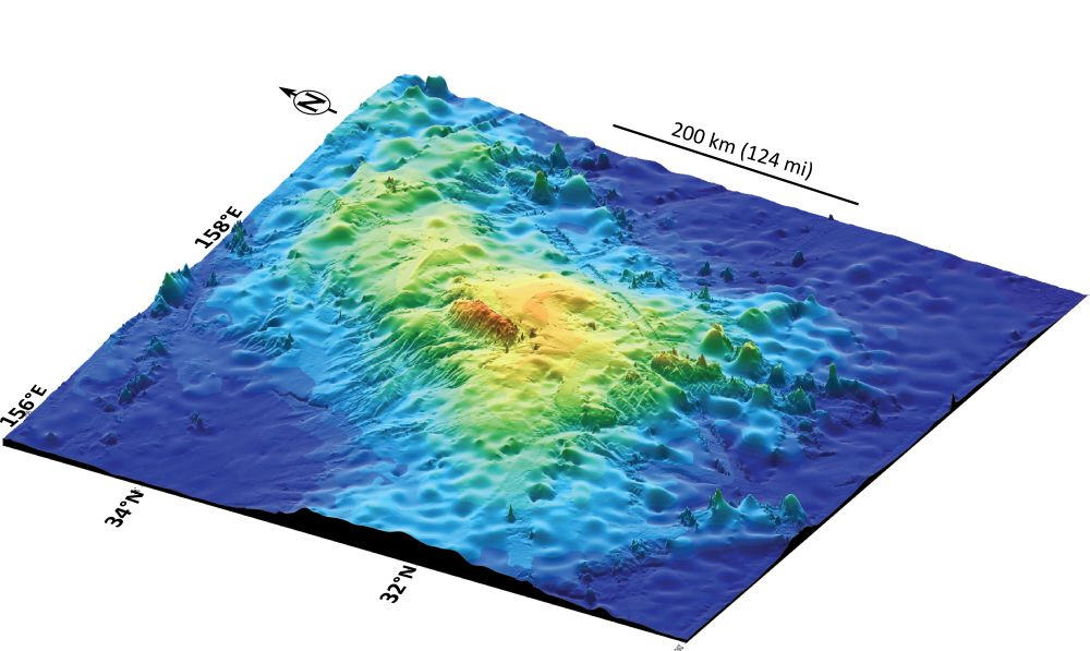 A 3D rendering of Tamu Massif (IODP/Texas A&M University)