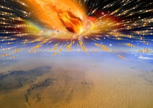 An artist's rendition of a comet exploding in Earth's atmosphere above Egypt (Terry Bakker)