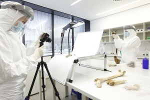 Scientists conducting palaeogenetic research in the ultra-clean laboratory at Mainz University (Thomas Hartmann)