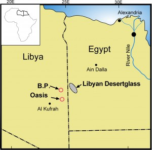 Map of the Libyan Desert Glass strewn field and along with two possible impact structures in the Libyan Desert. (Gunnar Ries/Wikimedia Commons)