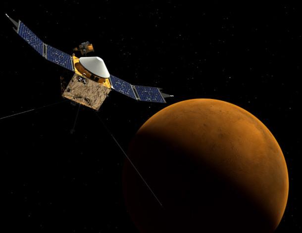 Artist's concept of the MAVEN spacecraft orbiting Mars. (NASA/Goddard Space Flight Center)