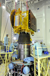 India's Mars Orbiter Mission Spacecraft being integrated to the 4th stage of of its launch vehicle. (Indian Space Research Organization)