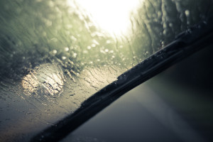 A windshield wiper at work on a rainy day (Basheer Tome via Flickr/Creative Commons)