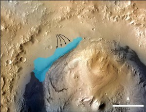 Artist's concept as to where water may have once flowed in ancient Gale Crater lake (NASA/JPL)