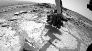 This sequence of images from Curiosity's Front Hazard-Avoidance Camera shows the rover drilling into a rock target (NASA/JPL-Caltech)