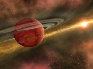 Artist's conception of HD106906b a young planet in a distant orbit around its host star. (NASA/JPL-Caltech)