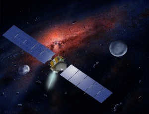 Artist concept of the Dawn spacecraft shown with asteroids Ceres (right) and Vesta (left). (William K. Hartmann/UCLA)
