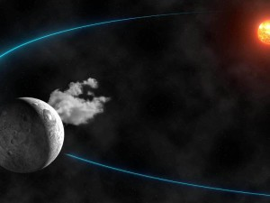 Artists rendition of the water vapor spewing asteroid Ceres shown in its orbit around the sun (IMCCE-Observatoire de Paris/CNRS/Y.Gominet)
