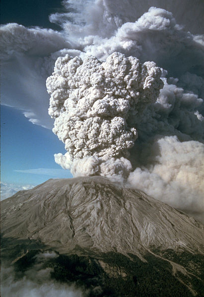 Mount Saint Helens (a neighbor of Mount Hood) erupting on July 22, 1980 (USGS Cascades Volcano Observatory )